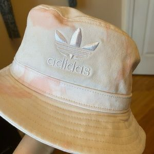 white and pink tie dye bucket hat from adidas